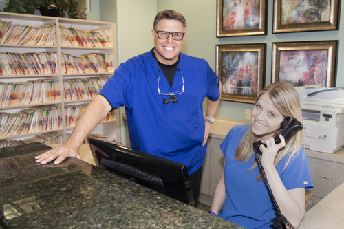 Steve Maurstad and Receptionist | Maurstad family dentistry in Omaha